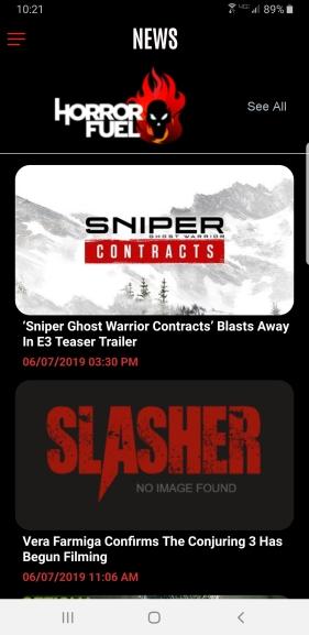 Slasher App Feed
